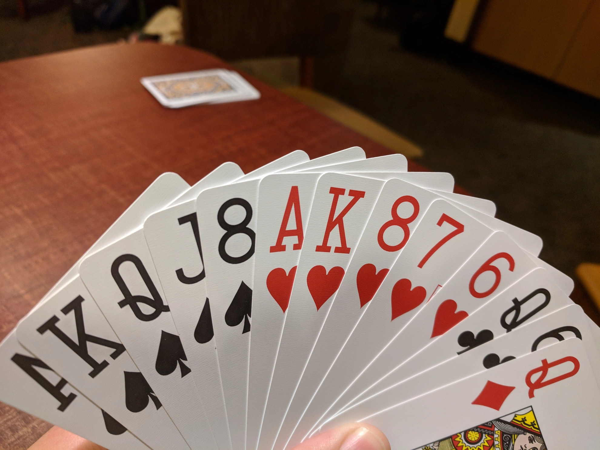 A hand of 13 playing cards sorted by suit.